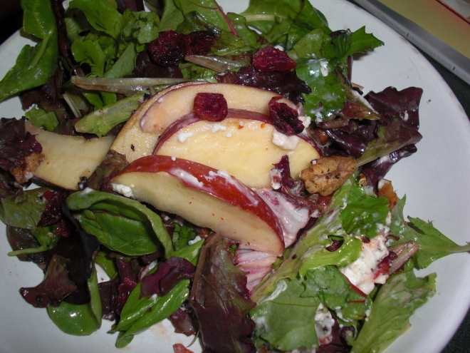 lunch salad with greens, dried cranberries, apples, goat cheese, toasted walnuts, and raspberry vinaigrette