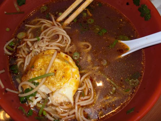 handdrawn vegetable and egg noddle soup
