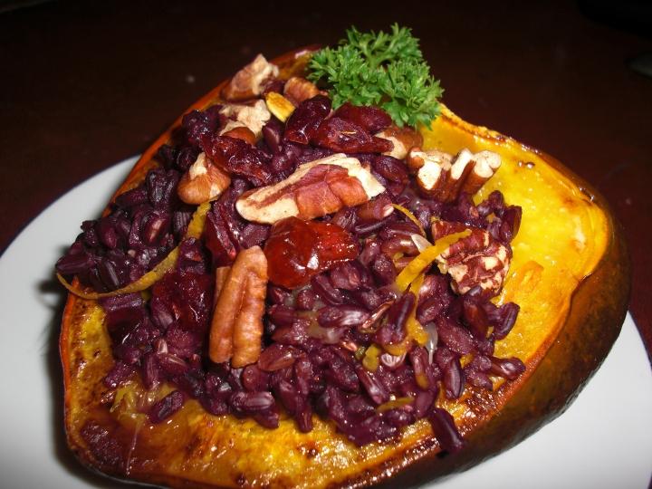 Acorn Squash stuffed with Black Rice