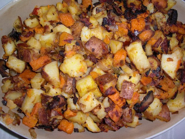 Oven sweet and red potatoes