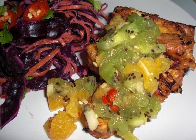 Mineola Tempah with Kiwi salsa
