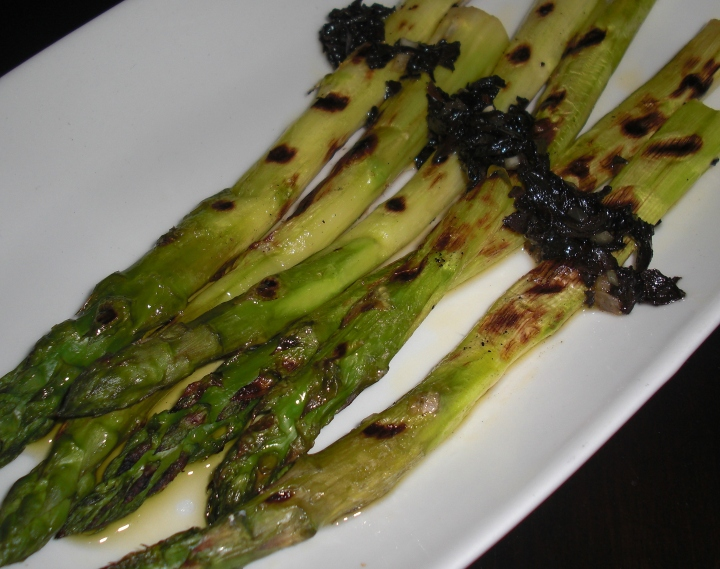 Grilled Asparagus with black truffle mojo