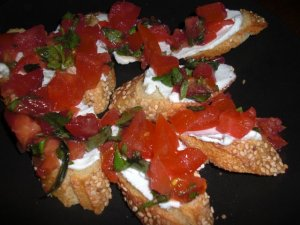 goat cheese and fresh tomato basil Bruchetta