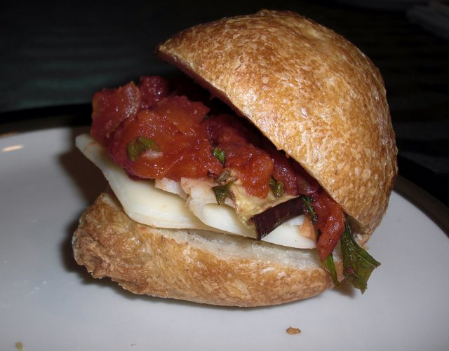 Sourdough French Roll with roasted tomatoe sauce, mozzarella, and roasted eggplant