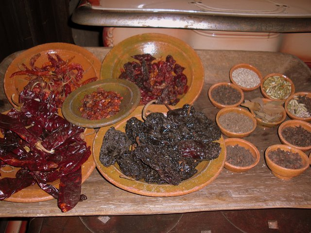 Dried chilis and spices