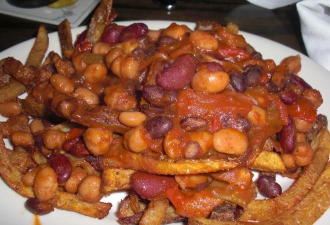 French Fries with 3 bean Vegan Chili