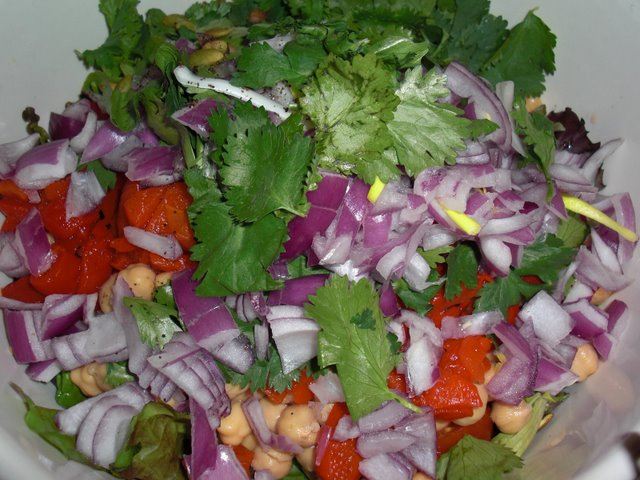 All those pretty salad ingredients, waiting to be tossed