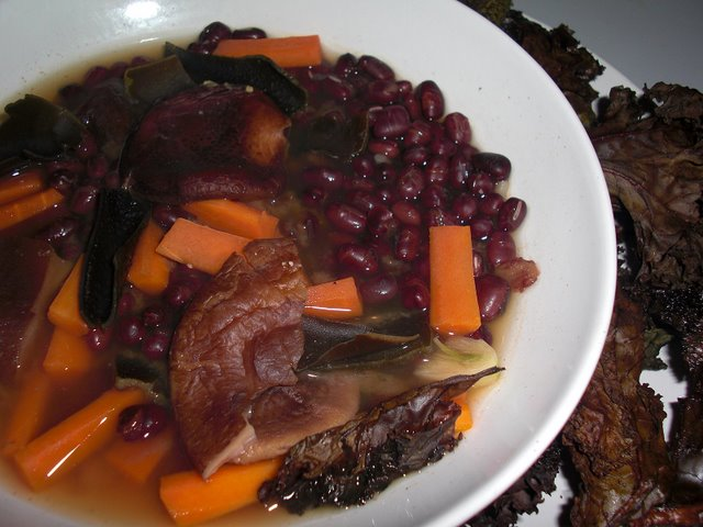 Adzuki bean, miso, and veggies soup
