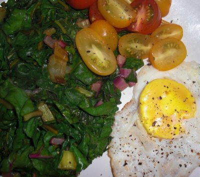 Rainbow Chard, Heirloom Tomatoes, Organic Egg
