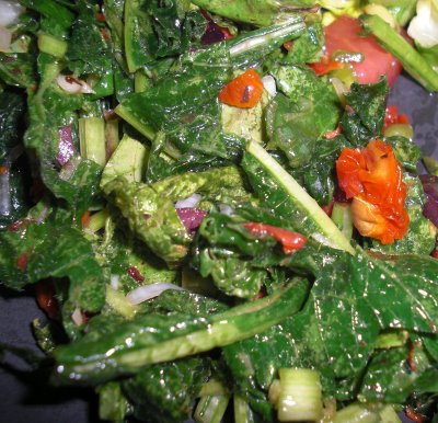 Raw Marinated Turnip Greens