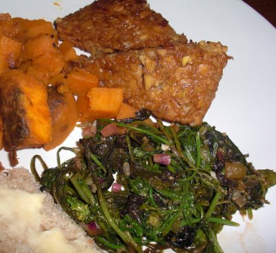 Local Summer: Tempeh, Greens, and sweet potatoes