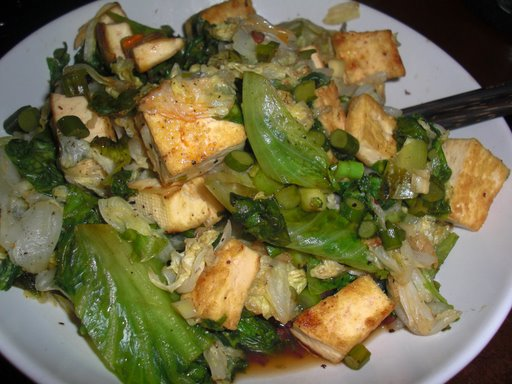 Stir-Fried Cabbage, Lettuce, and Tofu