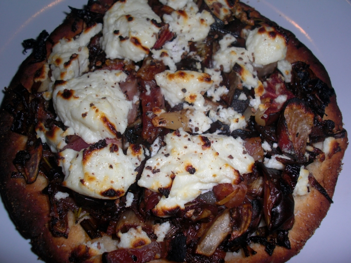 Roasted Beet Pizza with Carmalized Onions, Garlic and Feta