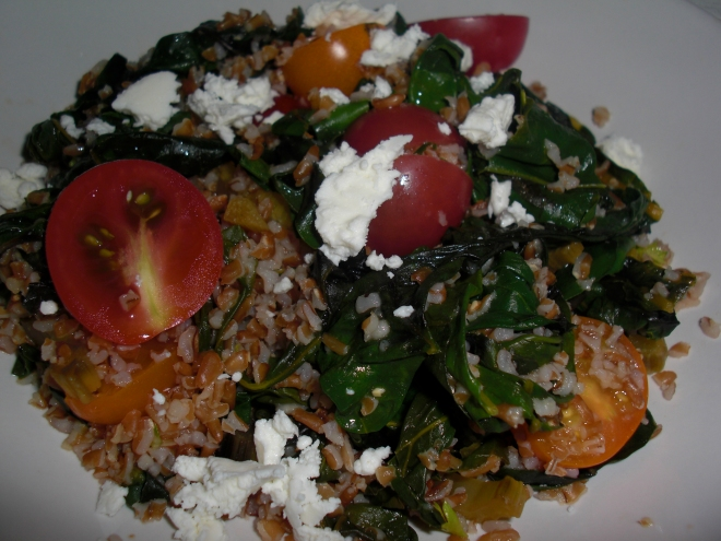 Bulgar Salad with Baby Heirloom Tomatoes, Swiss Chard and Goat Cheese