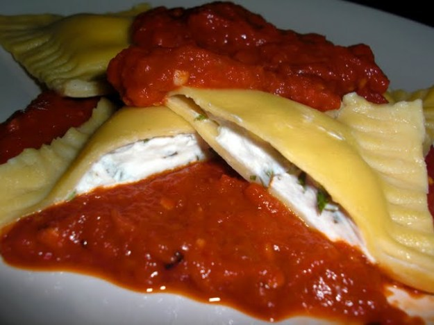 Goat Cheese and Basil Ravioli with Roasted Red Pepper Sauce
