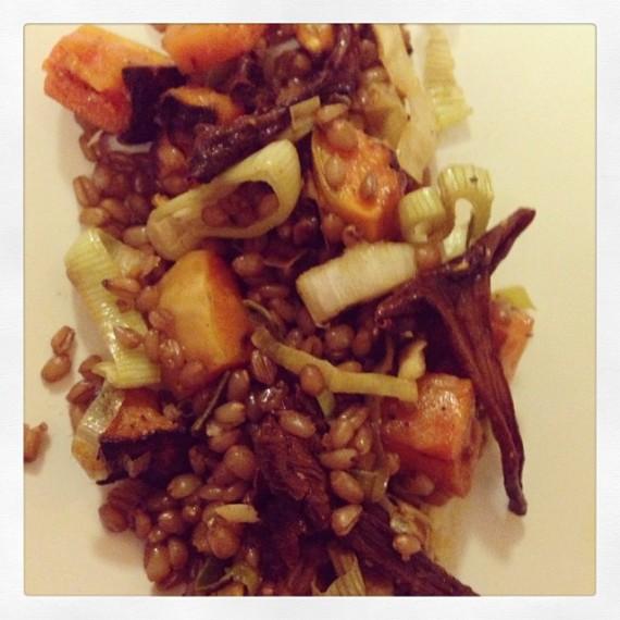 Fall Grain Salad with butternut, shitake, leek, sage and brown butter